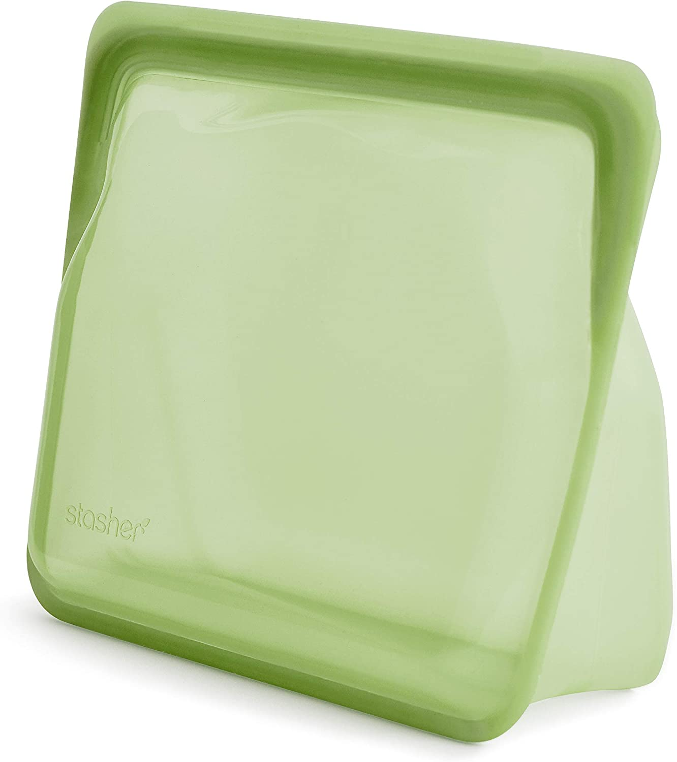 Stasher Platinum Silicone Food Grade Reusable Storage Bag, Green Rainbow (Stand-Up Mid) | Cook, Store, Sous Vide, or Freeze | Leakproof, Dishwasher-Safe, Eco-friendly | 56 Oz