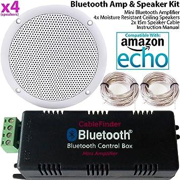 Smart Home - Amplificador Bluetooth y 4 Altavoces de Techo Resistentes a la Humedad – Compacto
