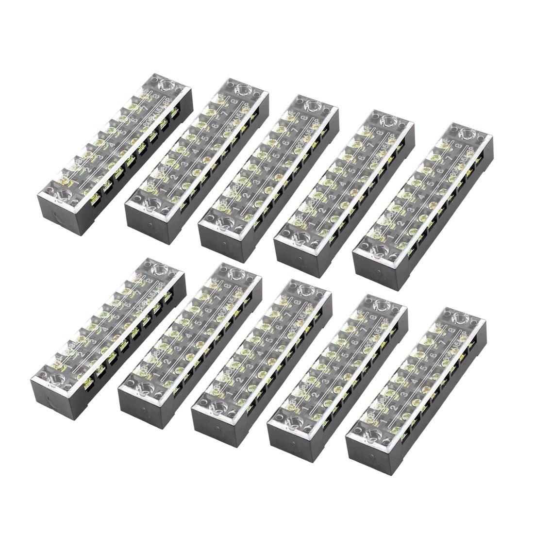 uxcell 600V 15A Dual Row 8 Position Screw Barrier Terminal Block Strip 10 Pcs a14052000ux0449