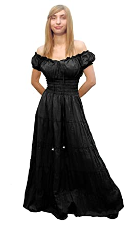 39439c2ba09 Faire Lady Designs Women s Renaissance Costume Peasant Boho Sundress Black  ...