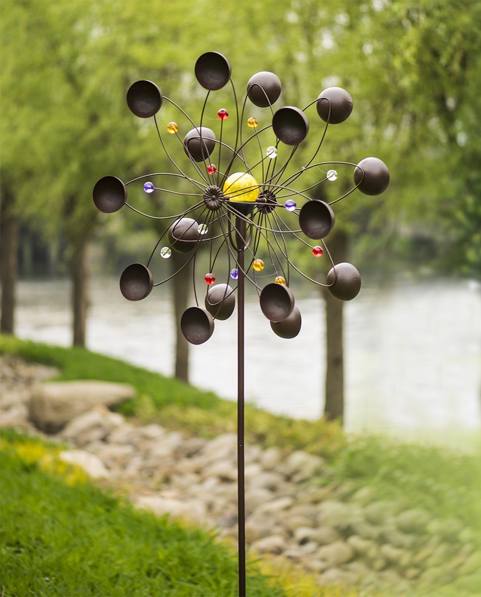 GIGALUMI Solar Wind Spinner with Crackle Glass Ball Solar Lights, 25.5'' Dia, Bronze Powder Coated Finish, Dual Rotors Wind Sculpture for Yard Art or Garden Decoration