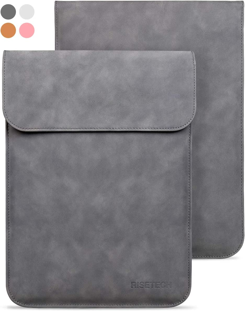 RISETECH 13-13.3 Inch Laptop Sleeve Waterproof PU Leather Case Cover Bag for 2020 MacBook Pro 2019 MacBook Air, Surface Laptop, Matebook X Pro, HP, ASUS, Lenovo, Dell Ultra Slim Notebook-Dark Gray