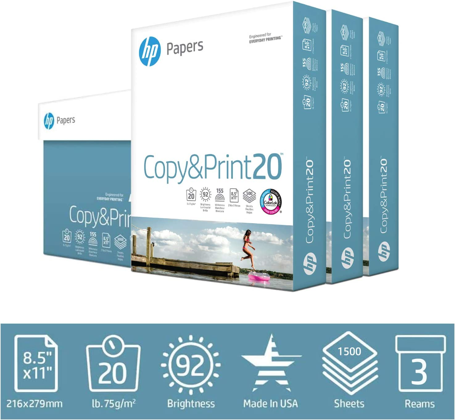 HP Printer Paper 8.5x11 Copy&Print 20 lb 3 Ream Case 1500 Sheets 92 Bright Made in USA FSC Certified Copy Paper HP Compatible 200090C