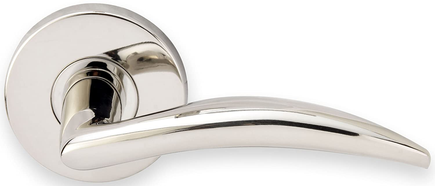 Polished Stainless Steel INOX RA210L62-32 Rosette Tubular Latch-2 Privacy Lever Set with Airstream Lever and 2-3//8-Inch Backset