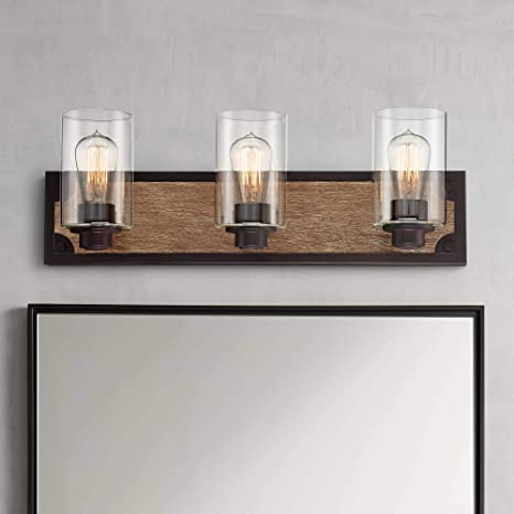 Buford Rustic Farmhouse Wall Light Wood Accented Black