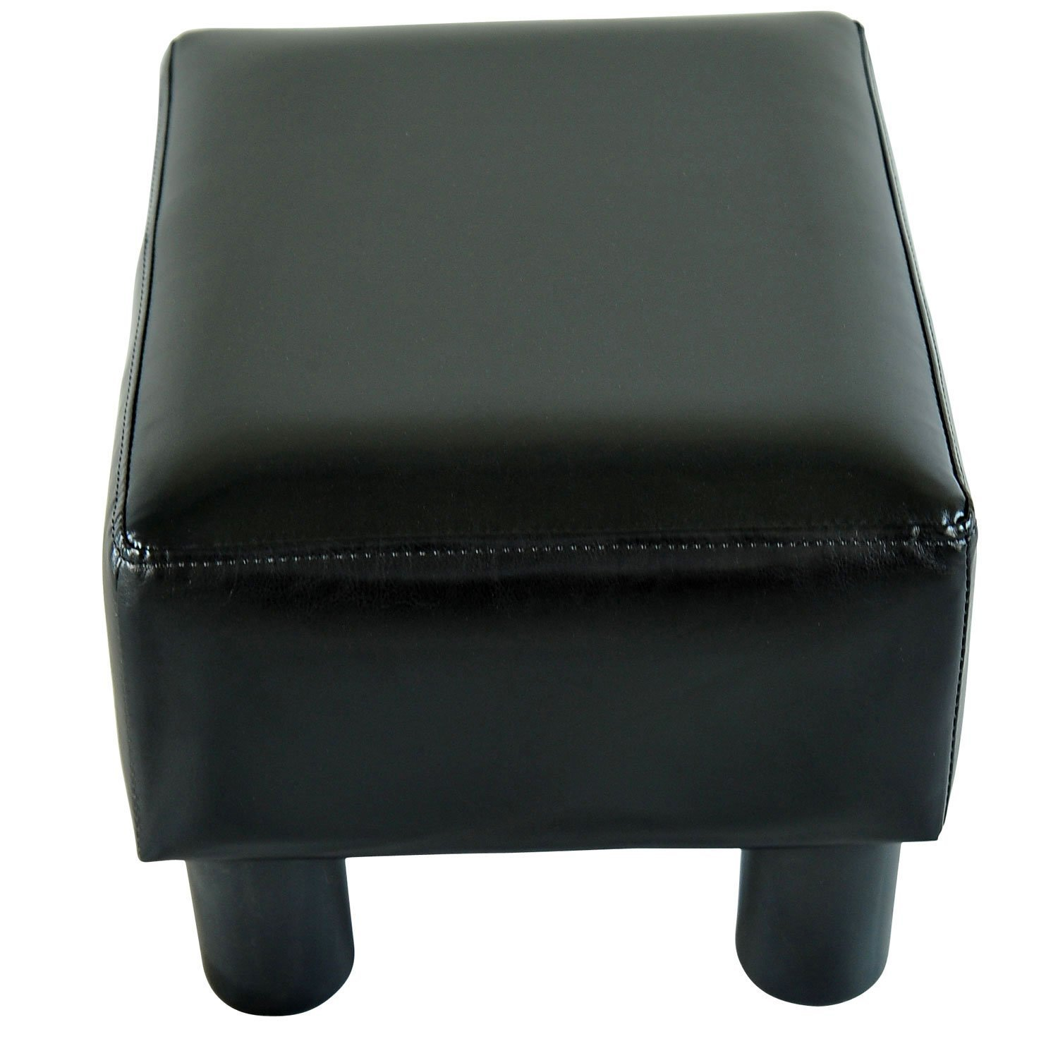 Black leather chair and ottoman - Amazon Com Homcom Modern Small Faux Leather Ottoman Footrest Stool Black Kitchen Dining