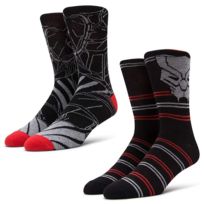 c251d0c12 Amazon.com: Marvel Mens Crew Cut Socks - Black Panther Groot Thanos- Crew  Cut 2-Pair Set (Black Panther, Mens Sock Size 10-13, Shoe Size 6-12):  Clothing
