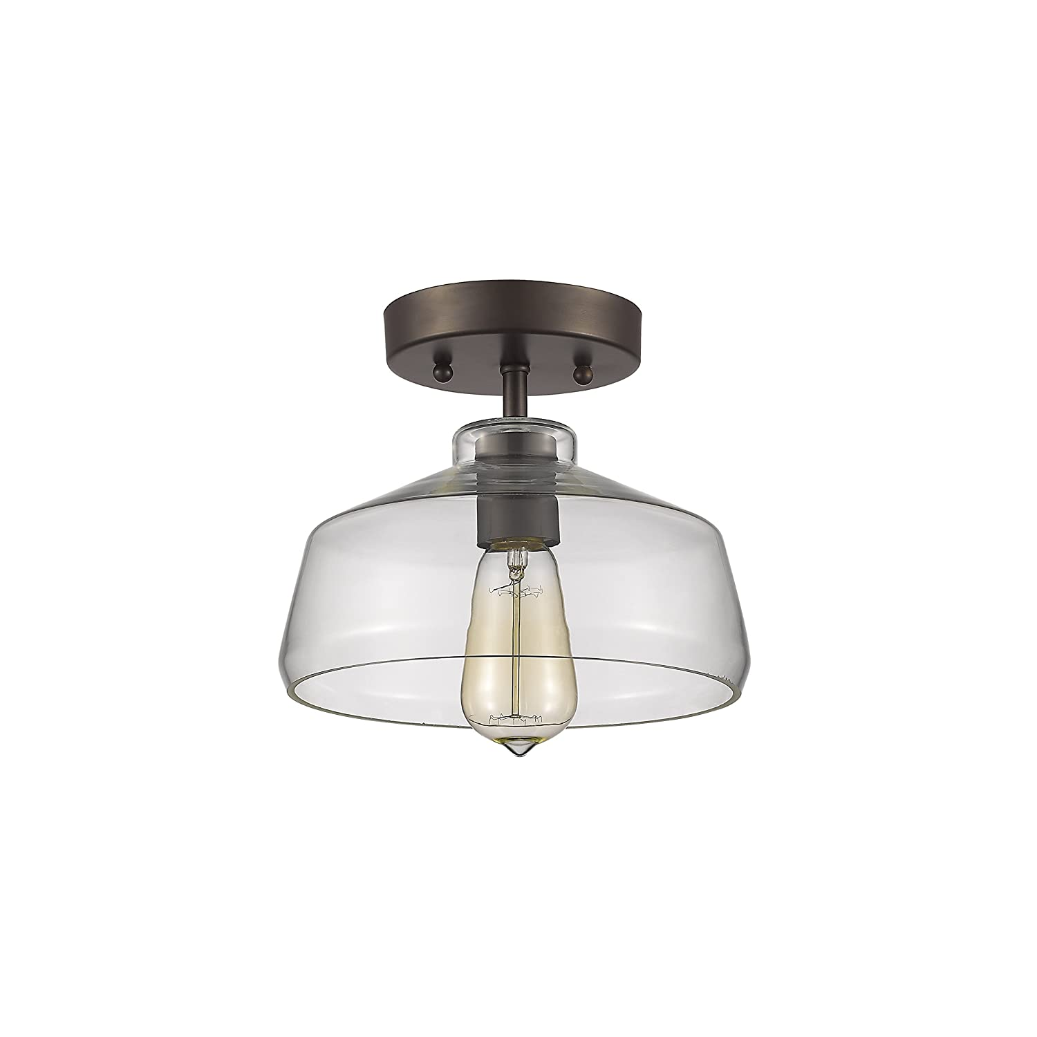 """Chloe Lighting CH854010CL09-SF1 Industrial Industrial-Style 1 Light Rubbed Bronze Semi-Flush Ceiling Fixture 9"""" Shade"""