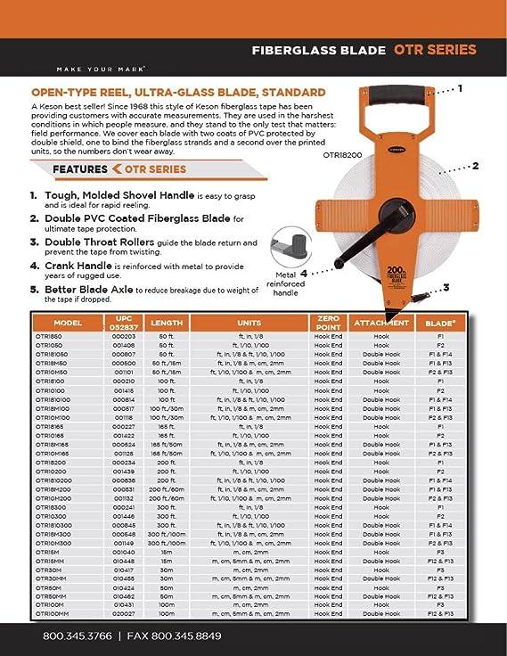 60M//200-Foot Graduations: 1//10, 1//100 /& m, cm, 2mm Keson OTR10M200 Open Reel Fiberglass Tape Measure Reel with Double Hook