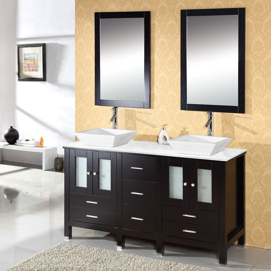 Virtu USA MD-4305-S-ES Bradford 60-Inch Bathroom Vanity with Double ...