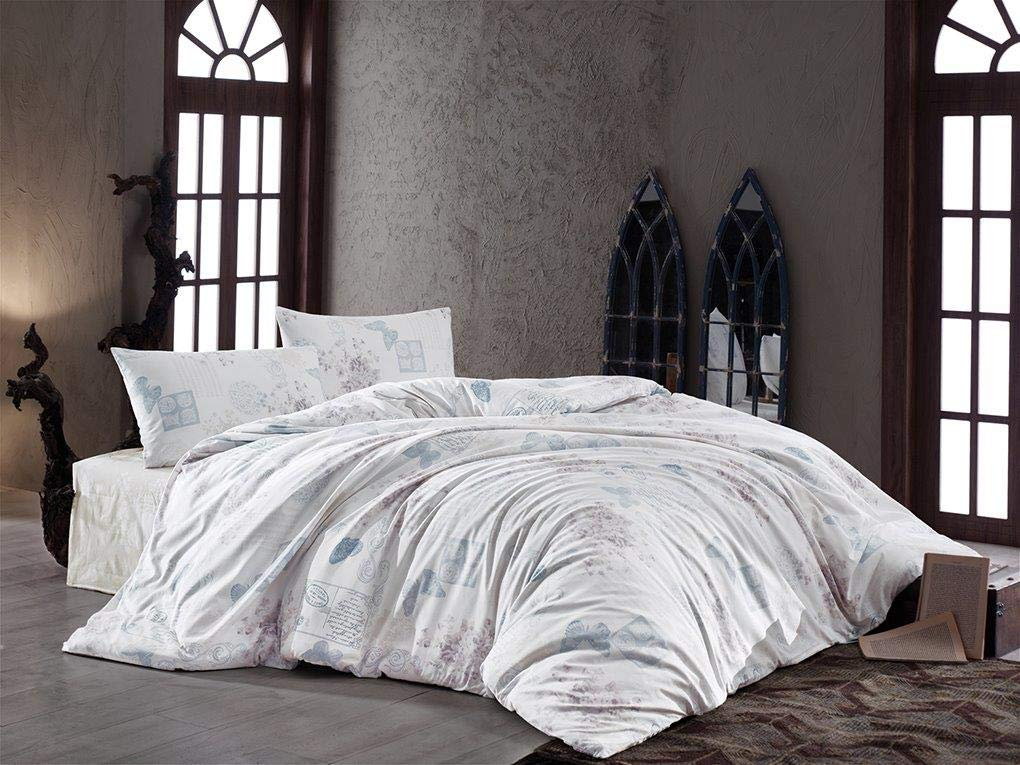 OliLinges Duvet Cover Light Blue and White Queen Size DTS