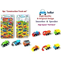 FunBlast Unbreakable Pull Back Vehicles  Construction Mini Power Friction Trucks for 3+ Years Old Boys Girls. (Set of 9)