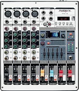 Amazon.com: Mezclador de audio profesional, Phenyx Pro PTX ...