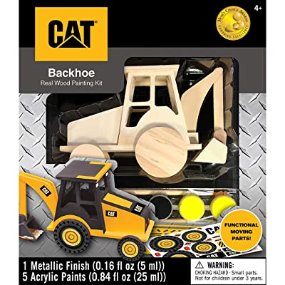 MasterPieces Caterpillar Real Wood Acrylic Paint & Craft Kit, Backhoe, For Ages 4+: Toys & Games