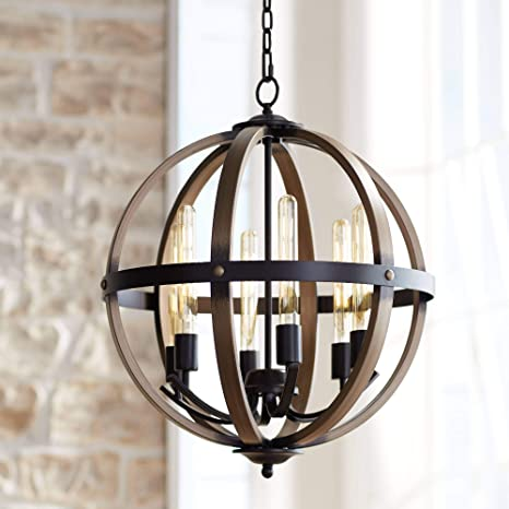 """Kimpton Dark Bronze Wood Orb Chandelier 21"""" Wide Rustic Farmhouse LED  6-Light Fixture for Dining Room House Foyer Kitchen Island Entryway Bedroom  Living Room - Franklin Iron Works - - Amazon.com"""