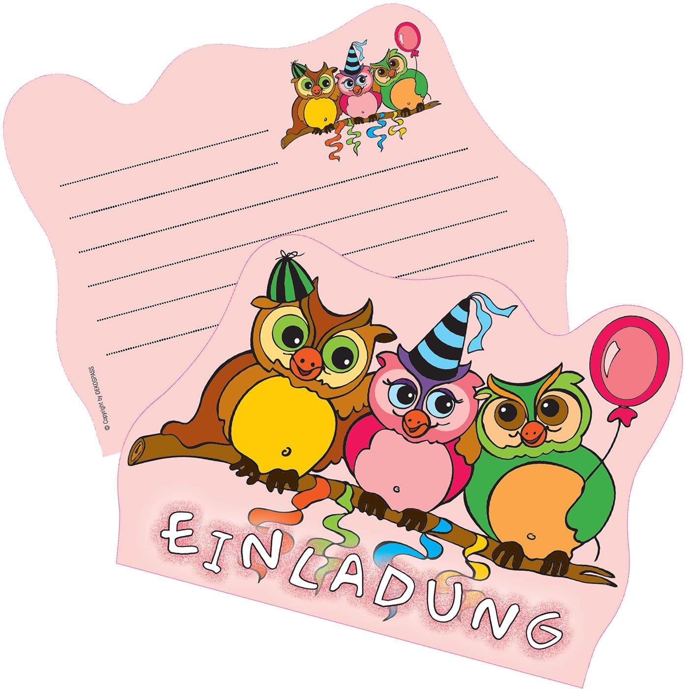 6 Einladungskarten * SÜSSE EULEN * Für Kindergeburtstag Und Party Von  DEKOSPASS // Kinder Geburtstag Party Kinderparty Einladung Einladungen  Karte ...