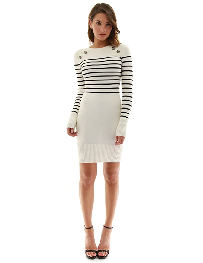 PattyBoutik Ladies Long Sleeve Sweater Dresses | Striped Crew Neck Sweater Dress