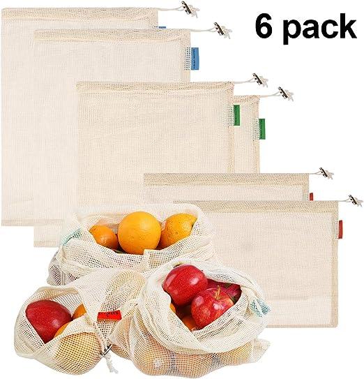 6 Piezas Bolsas Reutilizables Compra Ecológicas Bolsa de Malla Para Fruta Verduras Vegetales Juguetes de Algodon Lavable y Transpirable S/M/L: Amazon.es: Hogar