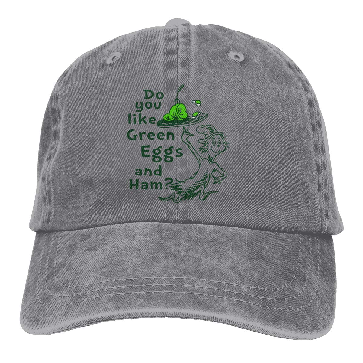 Feeling Unique Do-You-Like-Green-Eggs-and-Ham Vintage Jeans Baseball Cap Classic Cotton Dad Hat Adjustable Plain Cap Black
