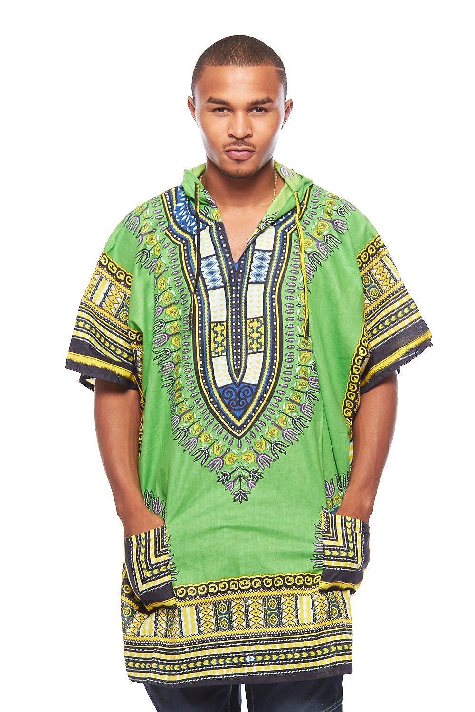 Mens African Swag Dashiki Loose Traditional Long Hoodie Top W/ Hood (One Size, Lime) Dashiki Hoodie