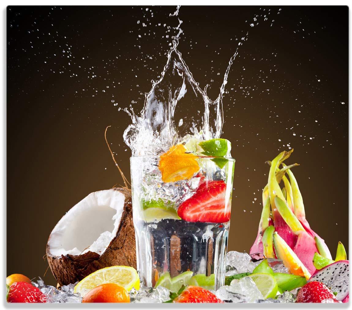 Wallario Herdabdeckplatte/Spitzschutz aus Glas, 1-teilig, 60x52cm, für Ceran- und Induktionsherde, Tropische Früchte in Einem erfrischenden Drink posterdepot