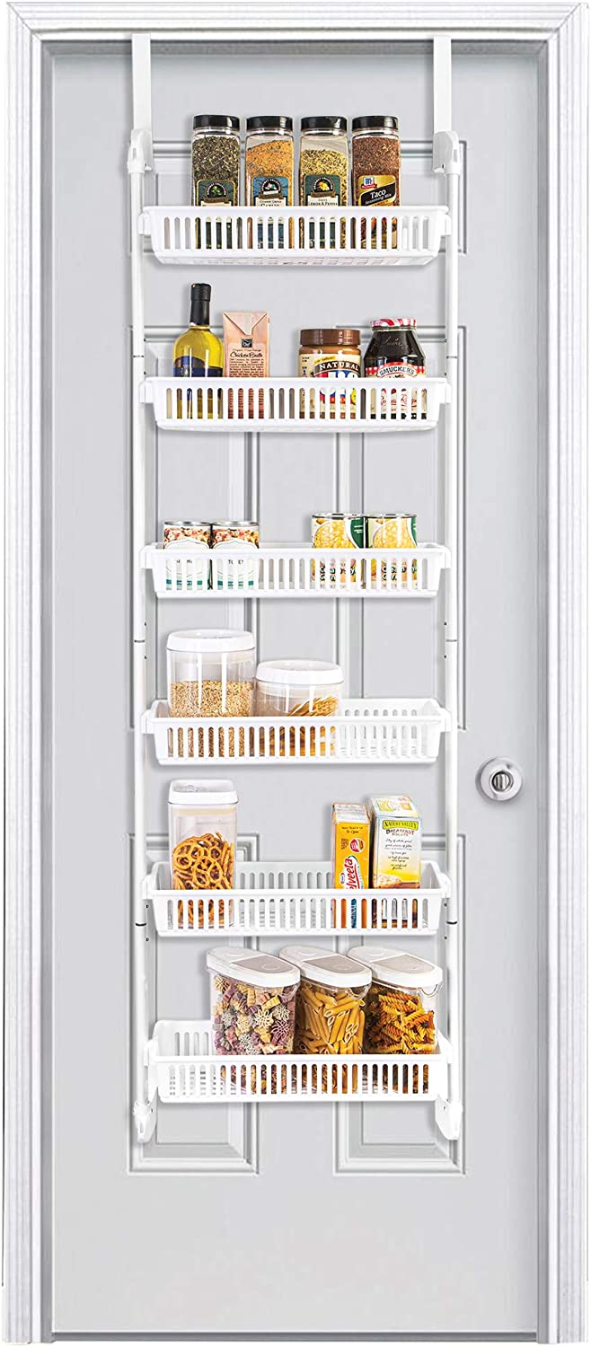 Smart Design Over The Door Pantry Organizer Rack w/ 6 Baskets - Steel & Resin Construction w/Hooks - Hanging - Cans, Spice, Storage, Closet - Kitchen (18.5 x 63.2 Inch) [White]