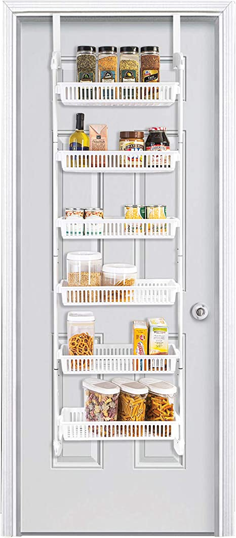 Amazon Com Smart Design Over The Door Pantry Organizer Rack W 6 Baskets Steel Resin Construction W Hooks Hanging Cans Spice Storage Closet Kitchen 18 5 X 63 2 Inch White Kitchen Dining