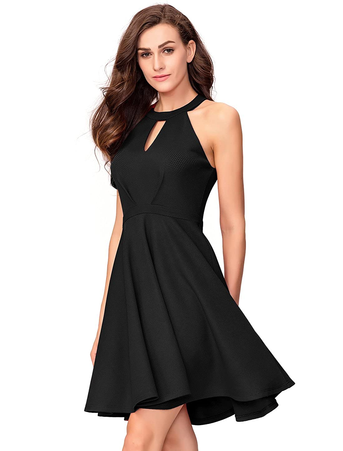 5aaf8f1b61 InsNova Women s Halter Skater A-Line Cocktail Dress Keyhole Neck Backless  at Amazon Women s Clothing store