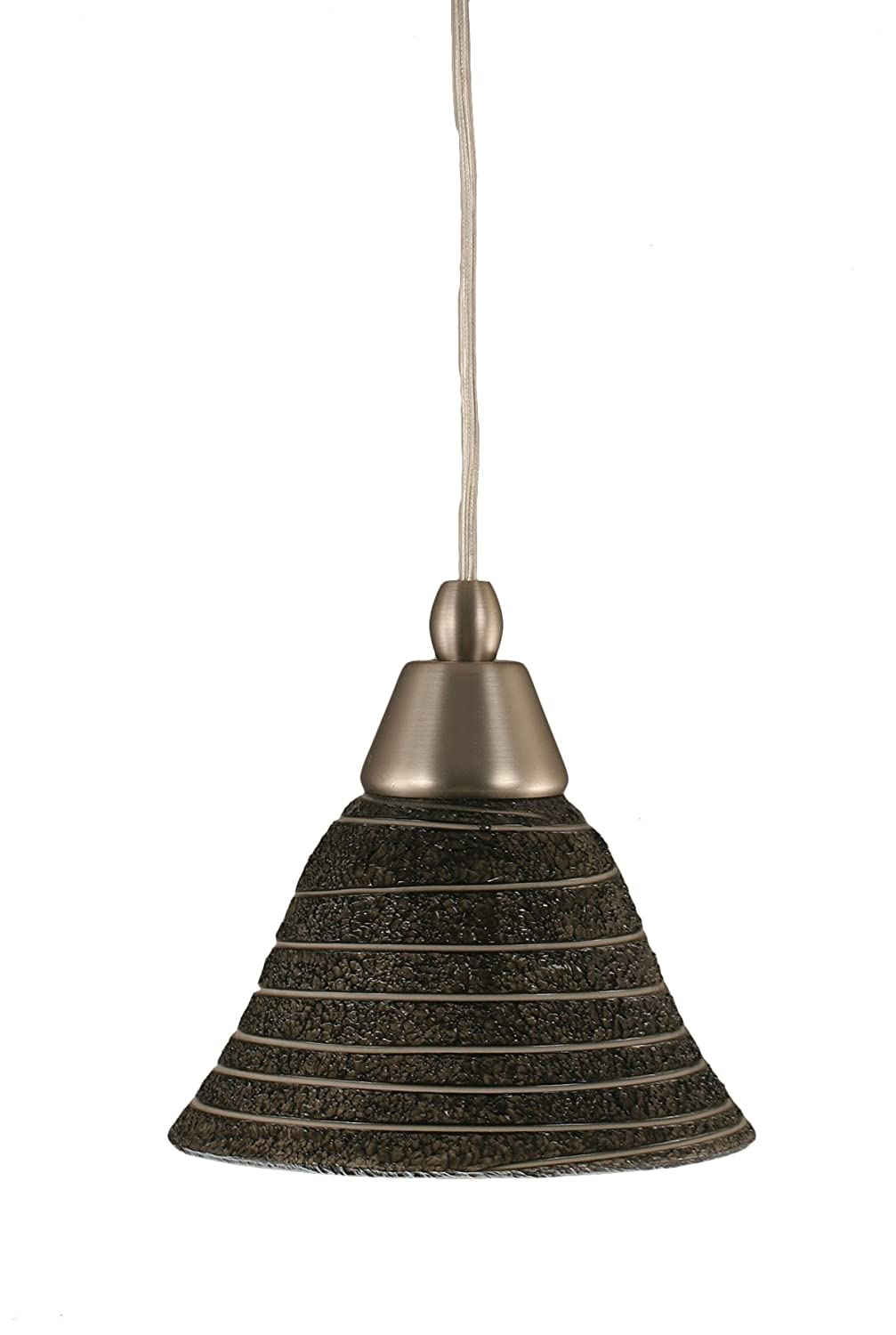 Toltec Lighting 22-BN-451 Cord Mini-Pendant Light Brushed Nickel Finish with Bubble Glass 7-Inch