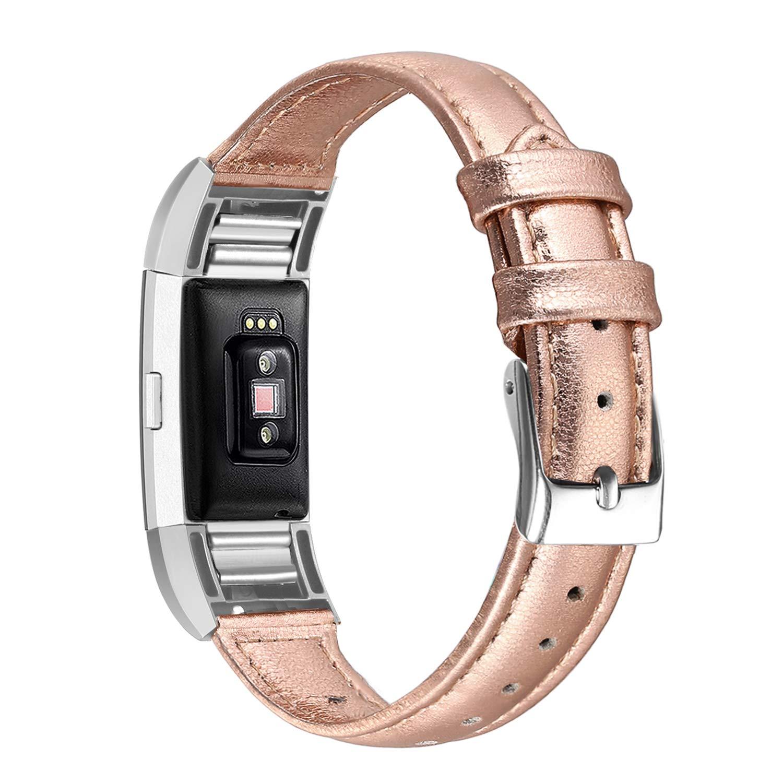 bayite Fitbit Charge 2用バンド スリム 本革バンド 交換用アクセサリーストラップ Charge2 レディース メンズ L S B07K7DSTWG ローズゴールド 6.7\