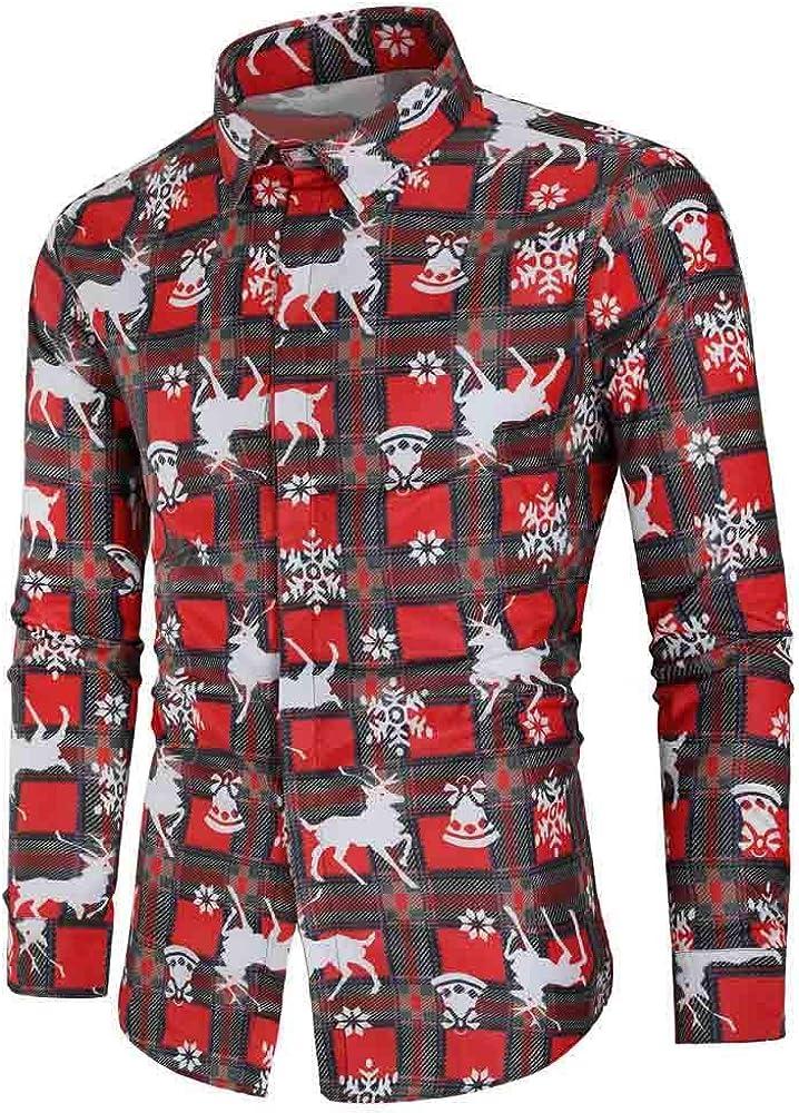 SoonerQuicker Camisas Hombre Manga Copos de Nieve Ocasionales de los Hombres Papá Noel Estampado Camisa de Navidad Blusa Superior - 2019 última Camisa Casual cómoda, Rojo,S: Amazon.es: Ropa y accesorios