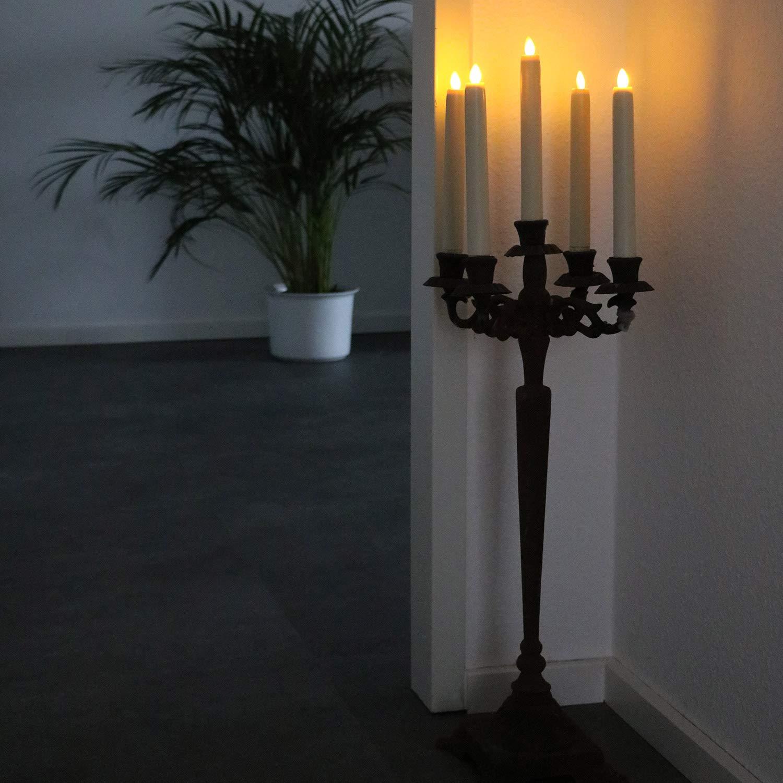 Tronje 2x LED Bougies de Chandelier 24cm Cr/ème 5h Minuterie T/él/écommande Bougie artificielle incassable /à Flamme