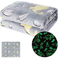 MeMoreCool Dinosaur Throw Blanket Glow in Dark - Soft Glowing Blanket for Boys and Girls, Fluffy Plush Dino Blankets for Jurassic Fans, Birthday Gift, 50x60 Inches, Grey
