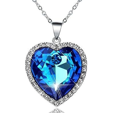 Amazon heart of the ocean fine blue crystal heart pendant heart of the ocean fine blue crystal heart pendant necklace made with blue czech crystal womens aloadofball Images