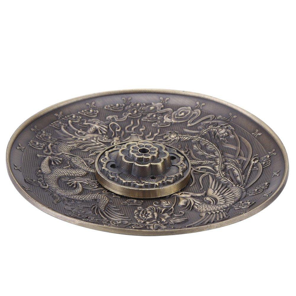 Incense Plate Holder Vintage Incense Burner Cover Bronze Chinese Dragon Phoenix Tibetan Incense Plate Vintage FengShui Decoration(Bronze)