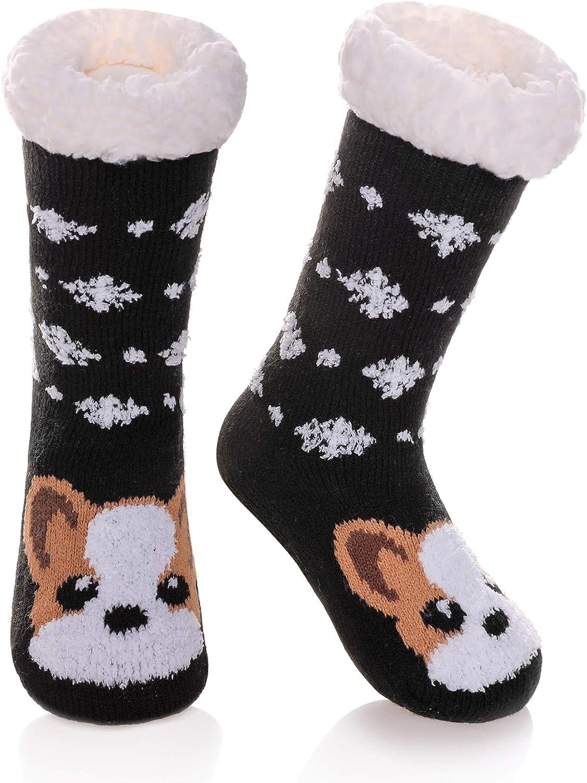LANLEO Boys Girls Cute Animal Slipper Socks Fuzzy Soft Warm Thick Fleece Lined Winter Socks Kids Toddlers Christmas Stockings