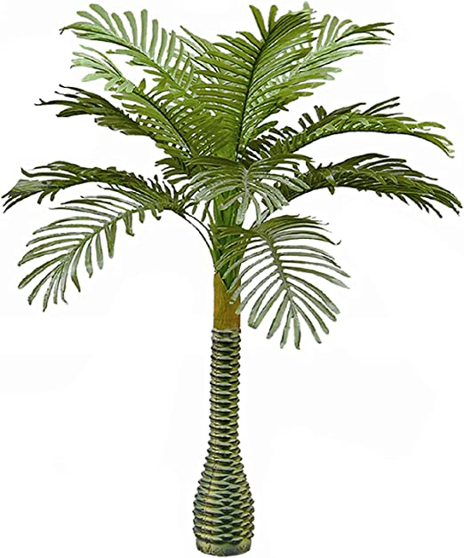 Real Touch Technology 5.3 Super Quality AMERIQUE Gorgeous 6.3 Feet Standable Triple Trunk Artificial Palm Tree with UV Protection Green