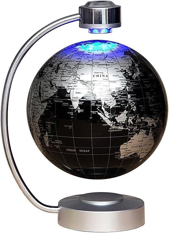 MagneticLevitationFloatingGlobeNHSUNRAY8''LevitationRotatingBallLEDIlluminatedWorldMapEarthforDesktopOfficeHomeDecorChildrenLearnGeographyKnowledge (Black)