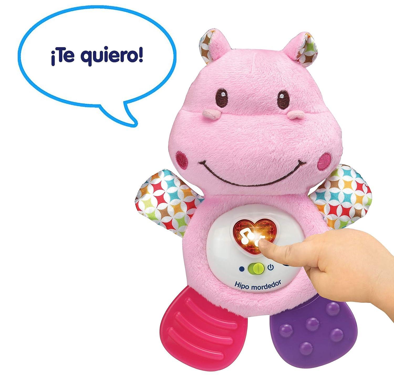 VTech HIPO Mordedor Hipopótamo de Peluche Musical y sonajero Que Ayuda a calmar y aliviar a tu Bebe con tiernas Frases, Canciones y melodías, Color ...