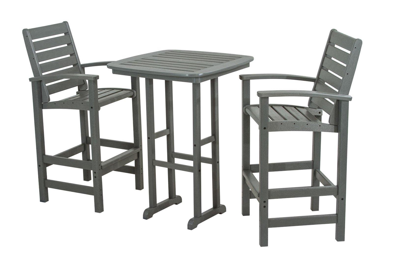POLYWOOD PWS153-1-GY Signature 3-Piece Bar Set, Slate Grey