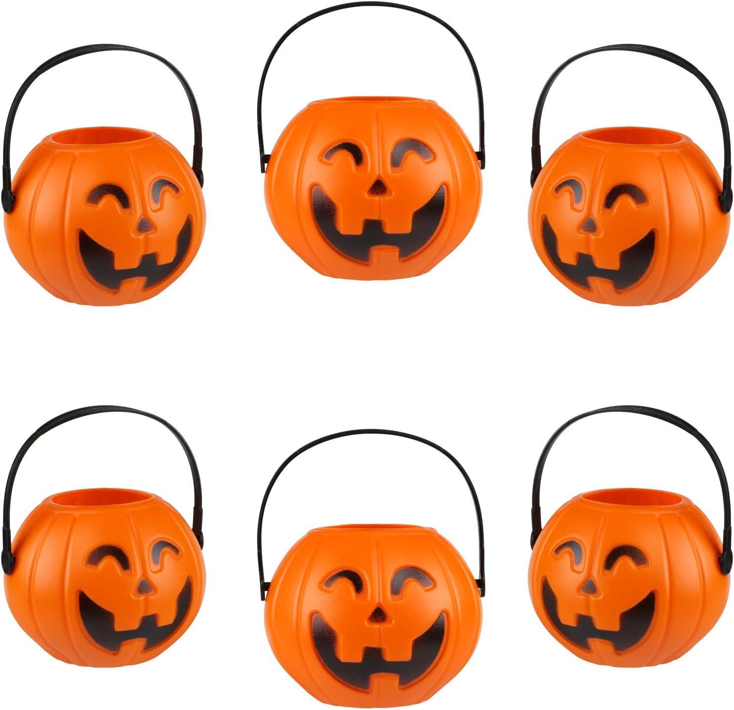Kesote Cesta en Forma de Calabaza Mini Conteniotre de Dulces Zcucca Halloween Plastic, 7CM, 6 Ccestas