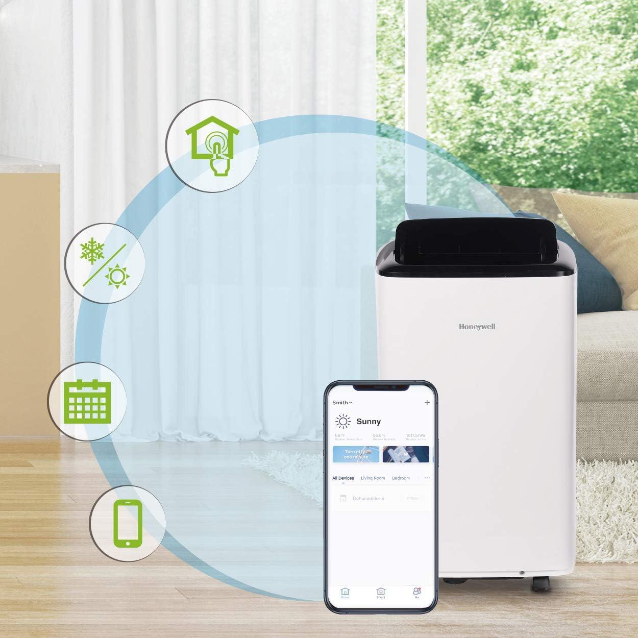 Honeywell, White 8,000 BTU Smart WiFi Portable Air Conditioner (350 sq.ft.) with Drain Pan & Window Insulation Tape, Black