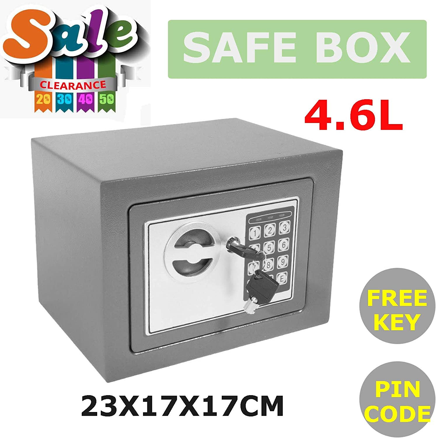 4.6L Electronic Password Security Digital Safe Box Home Office Money Cash Safety