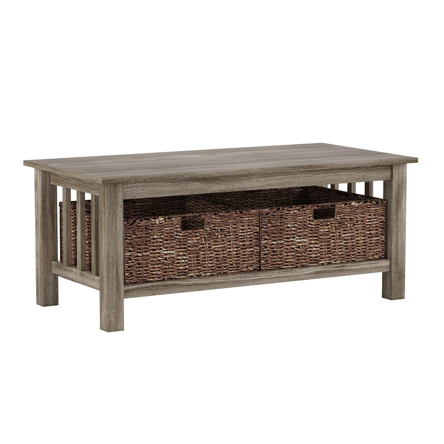 WE Furniture 40'' Driftwood Storage Short Rectangular Coffee Table For Living Room with Totes by WE Furniture