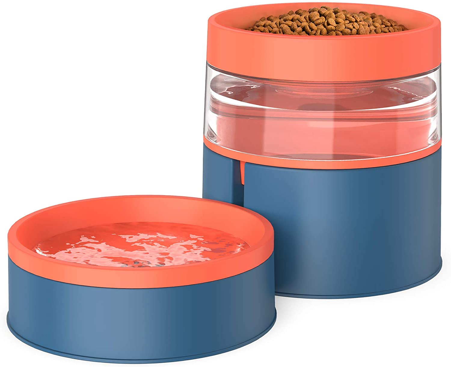 KALUDYA Double Dog Cat Bowls - 2 in 1 Automatic Pet Feeder,Detachable Gravity Water Dispenser and Food Bowl Set for Cats/ Puppies,Upgrade Design Anti Vomiting Raised Cat Bowls-Blue