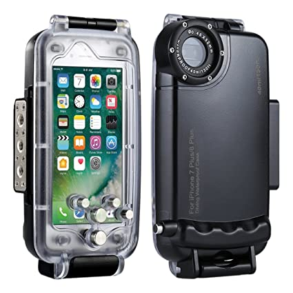 sale retailer 1d5db f9220 HAWEEL iPhone 7 Plus/ 8 Plus Underwater Housing Professional [40m/130ft]  Diving Case for Diving Surfing Swimming Snorkeling Photo Video with Lanyard  ...