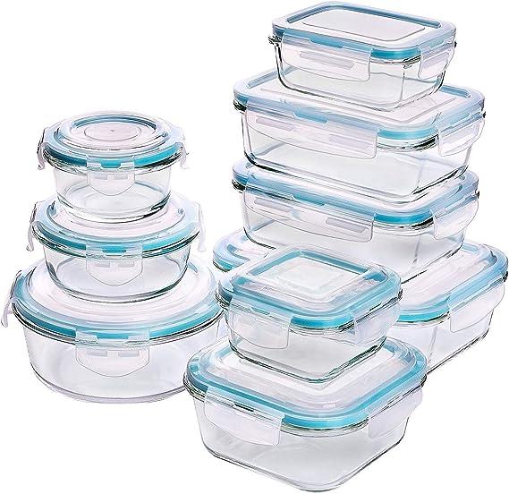 Recipiente - Contenedor de Almacenamiento de Alimentos de Vidrio - 18 piezas (9 envases + 9 tapas) Tapas transparentes - Sin BPA - Para la Cocina o el Restaurante de Uso Doméstico – por KICHLY: Amazon.es: Hogar