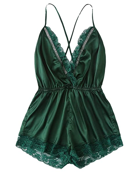e79be78fb8 Image Unavailable. Image not available for. Color  SweatyRocks Women s Sexy  Satin Lingerie Lace Babydoll Bodysuit V Neck Nightwear Sleepwear Romper ...