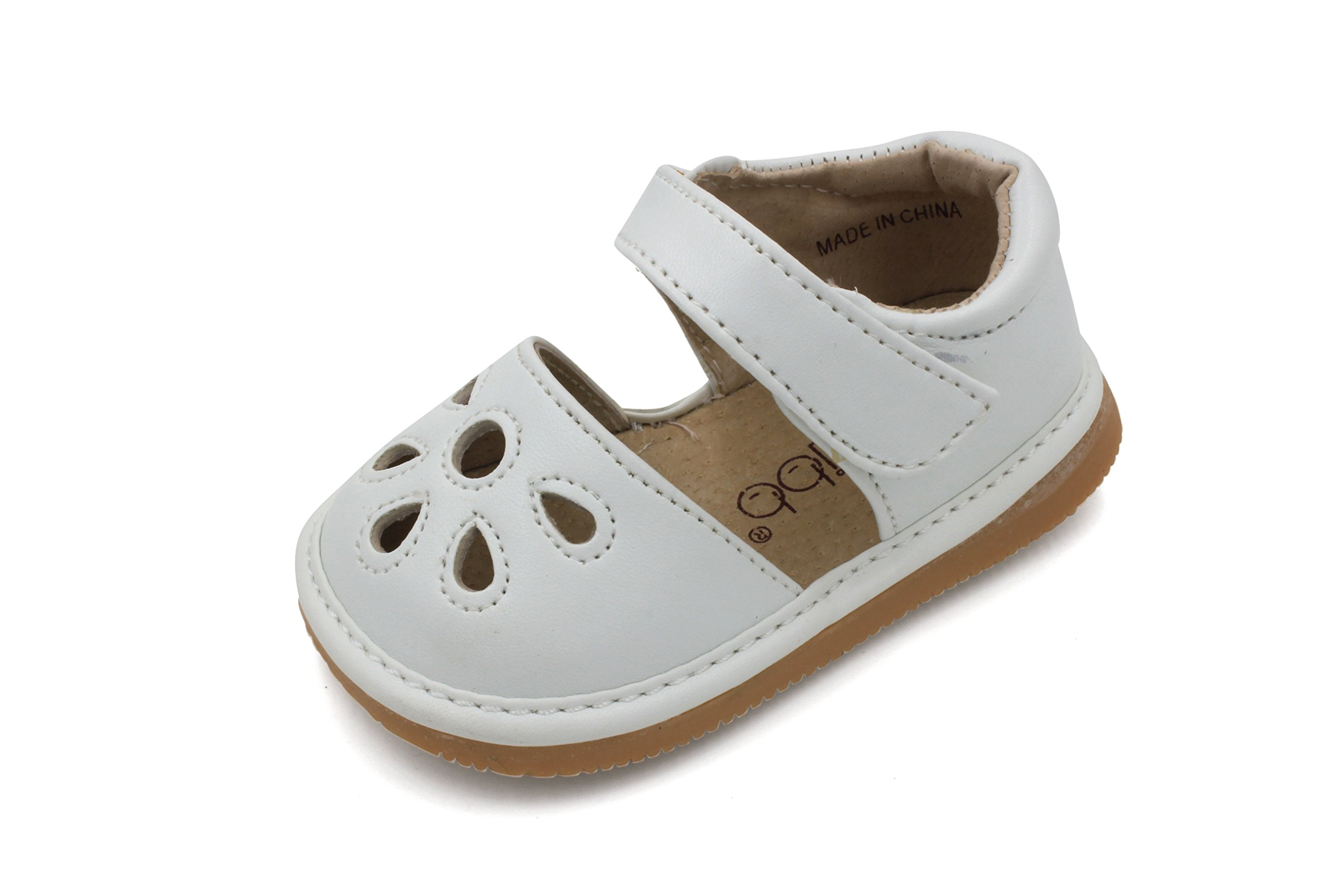 Little Mae's Boutique Squeaky Shoes |White Flower Punch Toddler Girl Sandals | Premium Quality (Removable Squeakers) (7)