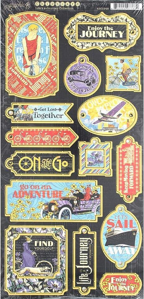 Various Graphic 45 Chipboard Multicolour